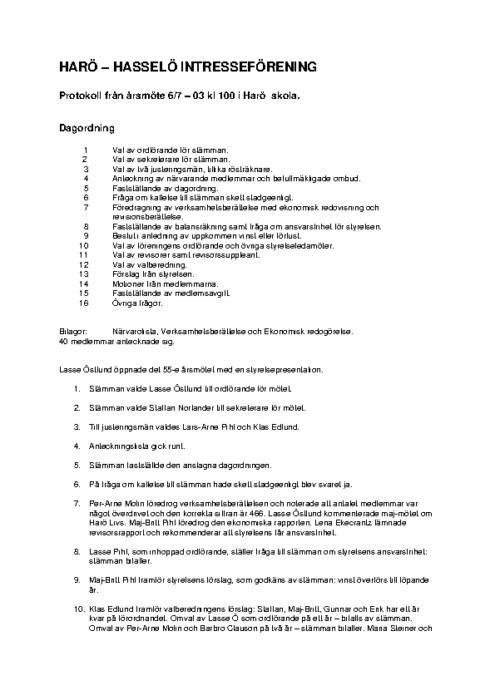 Protokoll 2003