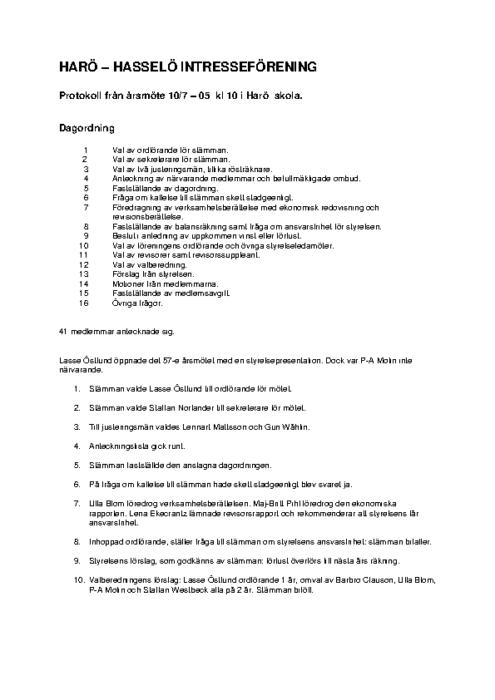 Protokoll 2005