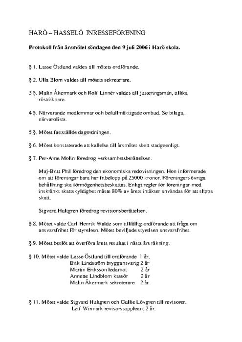 Protokoll 2006