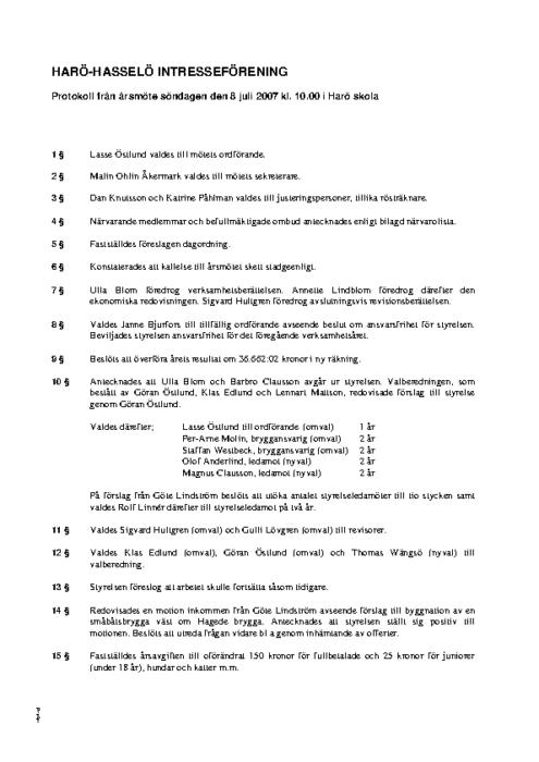 Protokoll 2007