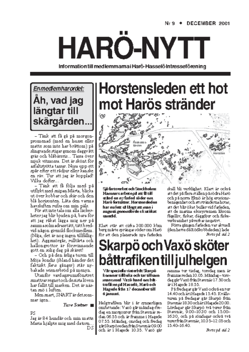Haro-Nytt 09-01