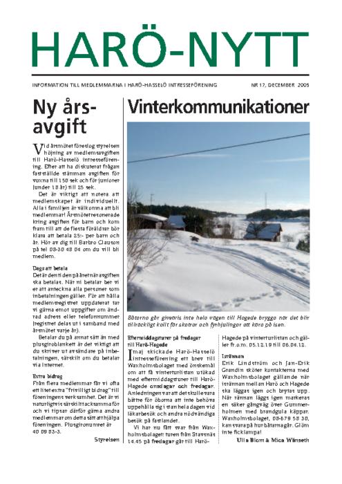 Harö-Nytt Nr. 17, december 2005