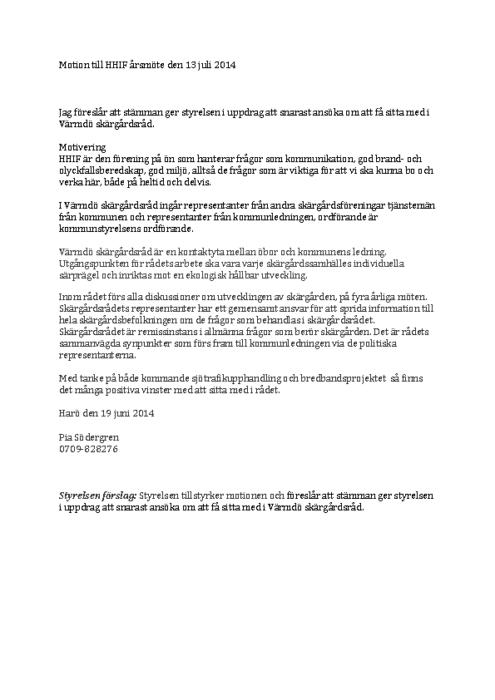 Motion Skärgårdsrådet 2014