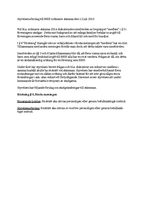 Ändring av stadgar årsmöte 2015