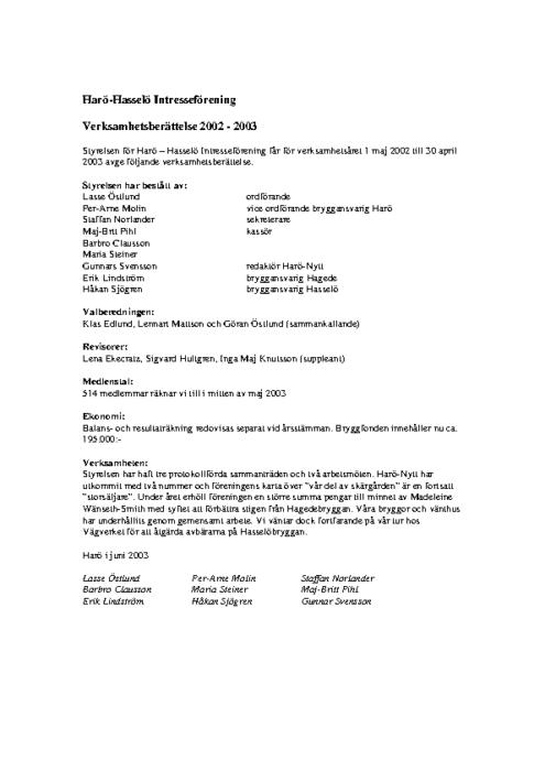 Verksamhetsberättelse 2002-2003