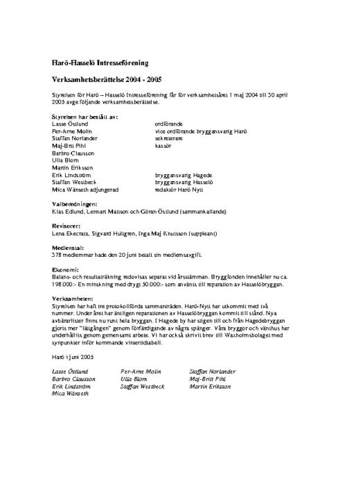 Verksamhetsberättelse 2004-2005
