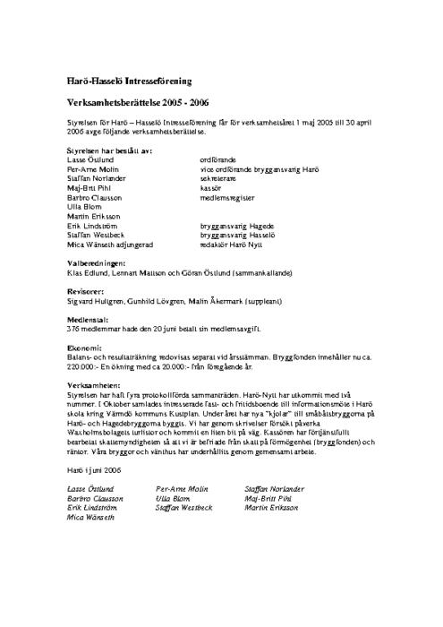Verksamhetsberättelse 2005-2006