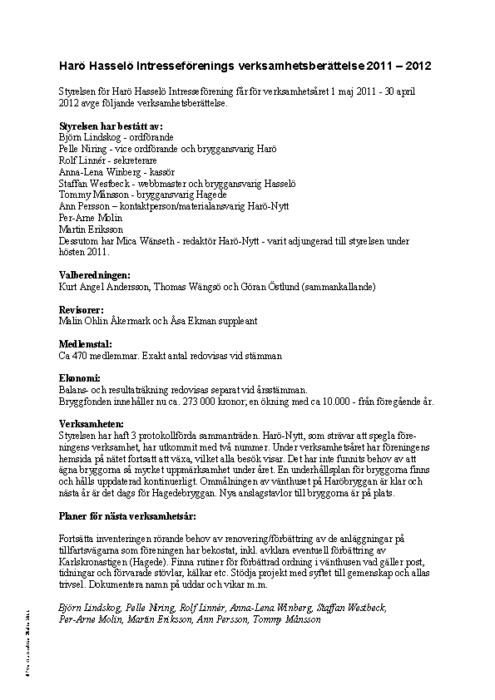 Verksamhetsberättelse 2011-2012