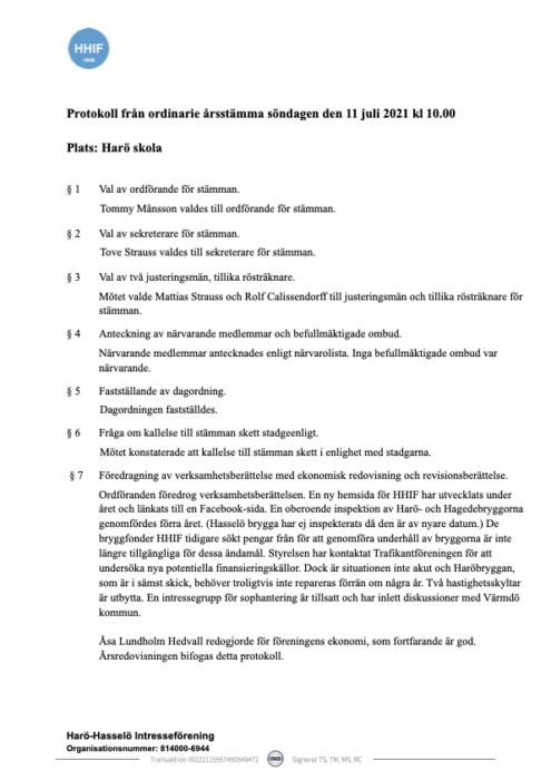 Protokoll årsstämma HHIF 11 juli 2021